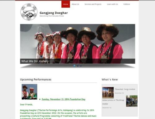 Projekt strony internetowej dla tybetańskiego zespołu gangjong.org